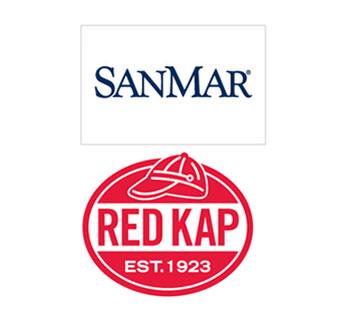 Red Kap and SanMar logos