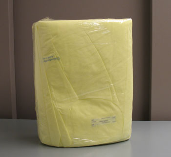 Package of disposable barrier isolation gowns.