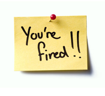 you're fired post-it note
